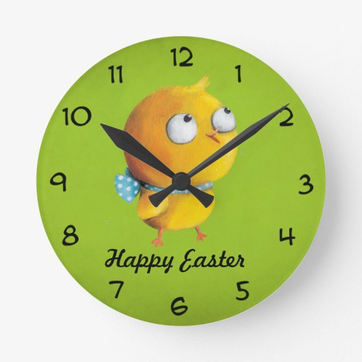 Yellow Easter Chicken with ribbon Round Clock