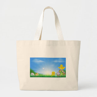 Yellow Easter chicks and eggs background Bags