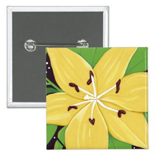 Yellow Easter Lily Digital Painting Pinback Button