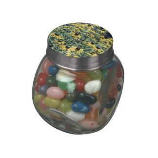Yellow Echinacea Flowers Glass Candy Jars