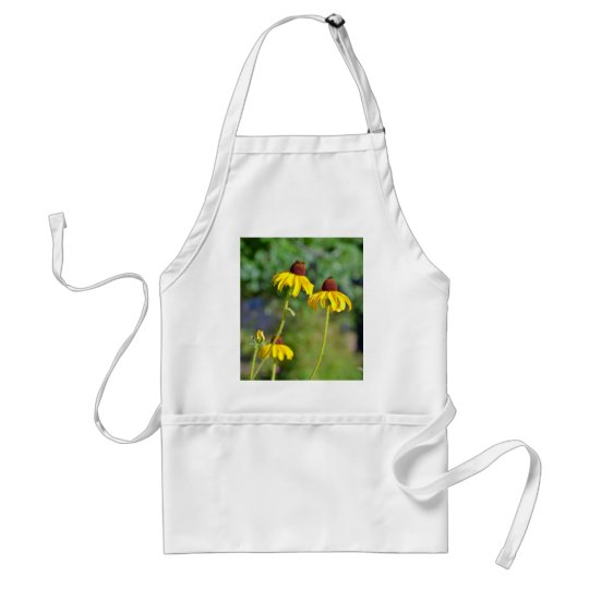 Yellow echinacea flowers print adult apron