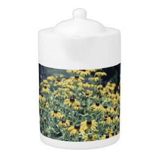 Yellow Echinacea Flowers Teapot