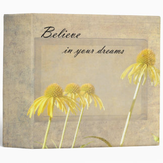 Yellow Echinacea Inspired Floral 3 Ring Binder