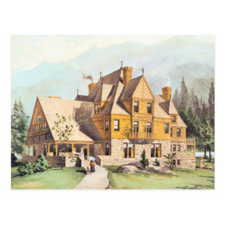 Yellow Elaborate Victorian Style Homes Postcard