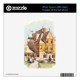 Yellow Elaborate Victorian Style Homes Decal For iPod Touch 4G