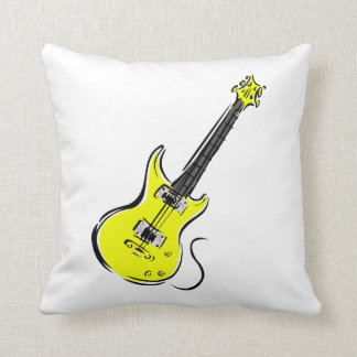 yellow electric guitar music graphic.png throw pillow