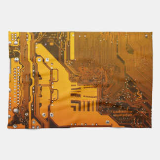 yellow electronic circuit board computer chip moth towel