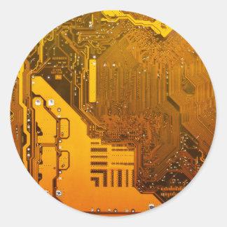 yellow electronic circuit board.JPG Classic Round Sticker