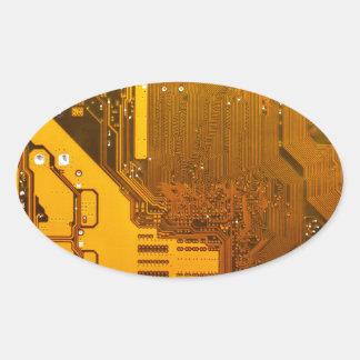 yellow electronic circuit board.JPG Oval Sticker