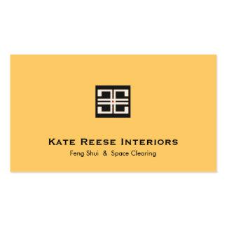 Yellow Elegant Geometric Logo Interior Design Business Card