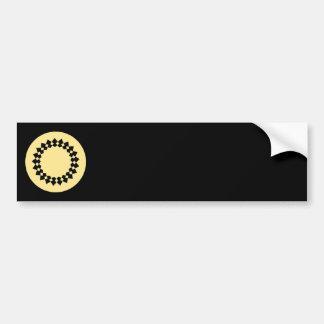 Yellow Elegant Round Design. Art Deco Style. Bumper Sticker