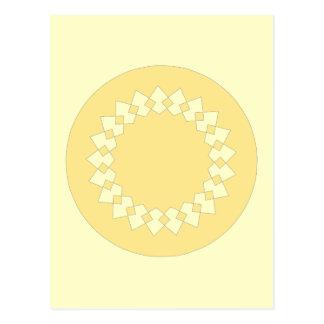 Yellow Elegant Round Design. Art Deco Style. Postcard