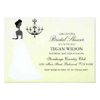 Yellow Elegant Wedding Gown Bridal Shower Invite