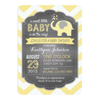 Yellow Elephant and Chevron Baby Shower Card
