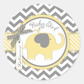 Yellow Elephant and Chevron Print Baby Shower Classic Round Sticker