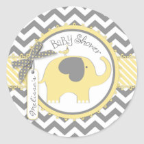 Yellow Elephant and Chevron Print Baby Shower Classic Round Sticker