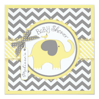 Yellow Elephant and Chevron Print Baby Shower 5.25x5.25 Square Paper Invitation Card