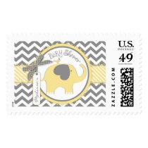 Yellow Elephant and Chevron Print Baby Shower Postage