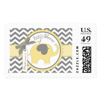 Yellow Elephant and Chevron Print Baby Shower Postage