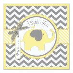 "Yellow Elephant and Chevron Print Thank You 5.25"" Square Invitation Card"