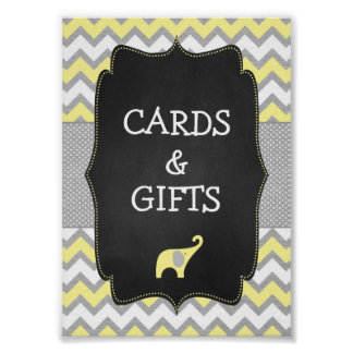 Yellow Elephant Baby Shower 5x7 Sign