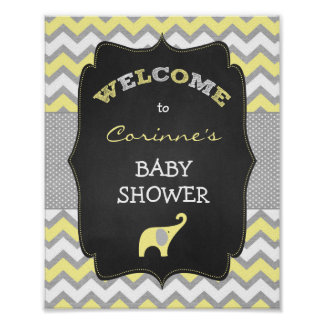 Yellow Elephant Baby Shower 8x10 Welcome Sign