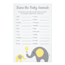 Yellow Elephant Baby Shower Baby Animal Name Game Flyer
