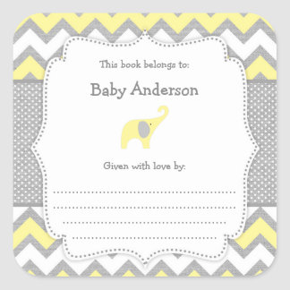 Yellow Elephant Baby Shower bookplate book sticker