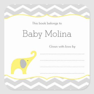 Yellow Elephant Baby Shower Bookplate, neutral Square Sticker