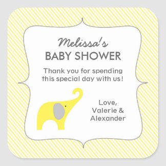 Yellow elephant baby shower favor thank you square sticker