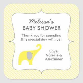Yellow elephant baby shower favor thank you