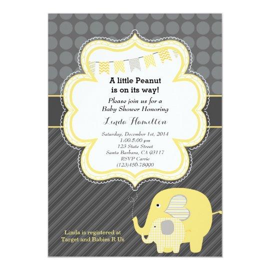 Yellow Elephant Baby Shower Invitation Zazzle Com