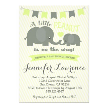 Toddler & Baby themed Yellow Elephant Baby Shower Invitation Boy or Girl