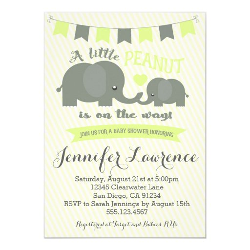 Yellow Elephant Baby Shower Invitation Boy or Girl