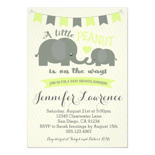 Yellow Elephant Baby Shower Invitation Boy or Girl Zazzlecom