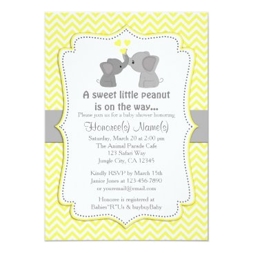 Toddler & Baby themed Yellow Elephant Baby Shower Invitations Chev 170