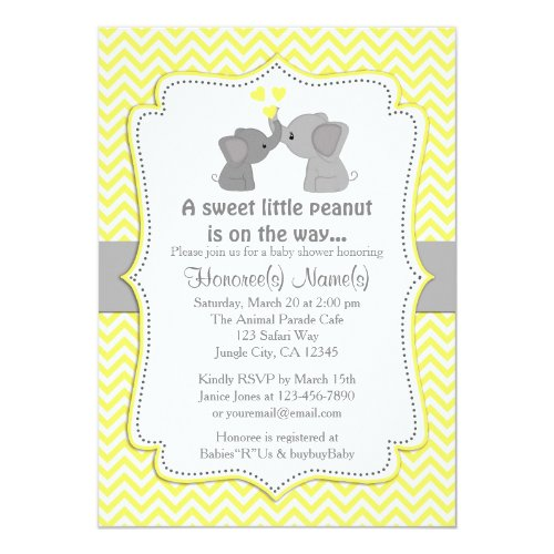Yellow Elephant Baby Shower Invitations Chev 170
