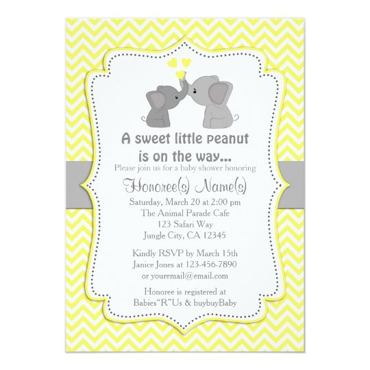 Yellow elephant baby shower invitations chev 170 zazzle yellow elephant baby shower invitations chev 170 filmwisefo