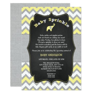 Toddler & Baby themed Yellow elephant baby sprinkle, baby shower card