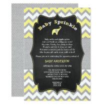 Yellow elephant baby sprinkle, baby shower invitation