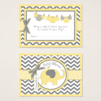 Yellow Elephant Bird and Diaper Raffle Ticket