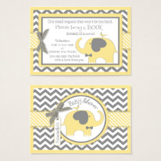 Yellow Elephant Bird Bring A Book Card at Zazzle