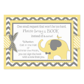 Yellow Elephant Bird Bring a Book Card Large Business Card