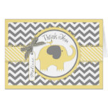 Yellow Elephant Bird Chevron Print Thank You Card
