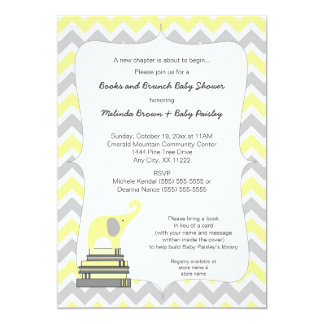 Yellow Elephant Book Baby Shower, books and brunch Card