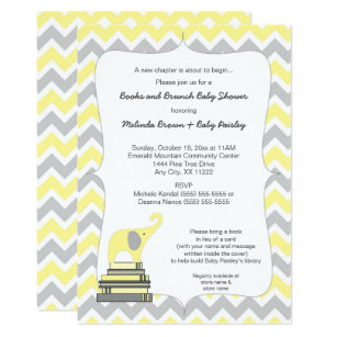 Yellow invitations zazzle yellow elephant book baby shower books and brunch invitation stopboris Image collections
