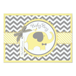 Yellow Elephant Bow Tie Chevron Print Baby Shower Card