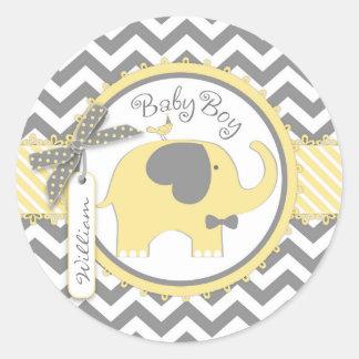 Yellow Elephant Bow-tie Chevron Print Baby Shower Classic Round Sticker