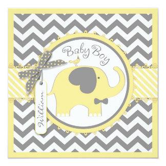"Yellow Elephant Bow-tie Chevron Print Baby Shower 5.25"" Square Invitation Card"