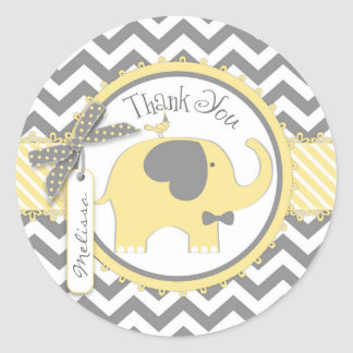 Yellow Elephant Bow-tie Chevron Print Thank You Classic Round Sticker